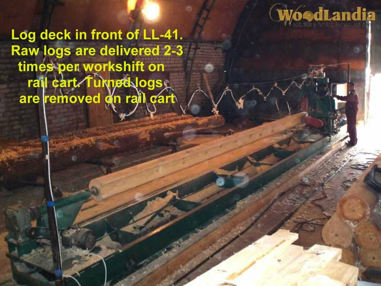 Log deck and rail cart in front of log lathe